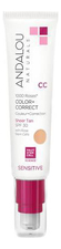Andalou Naturals Матирующий CC крем Sensitive 1000 Roses Color + Correct Sheer Tan SPF30 With Rose Stem Cells 58мл