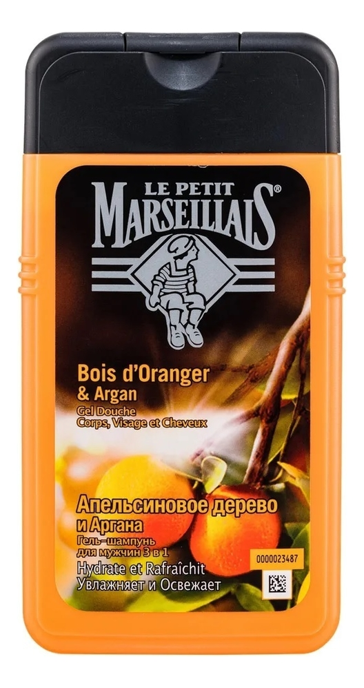 Купить Гель-шампунь для мужчин 3 в 1 Апельсиновое дерево и Аргана Bois d'Oranger & Argan: Гель-шампунь 250мл, Гель-шампунь для мужчин 3 в 1 Апельсиновое дерево и Аргана Bois d'Oranger & Argan, Le Petit Marseillais