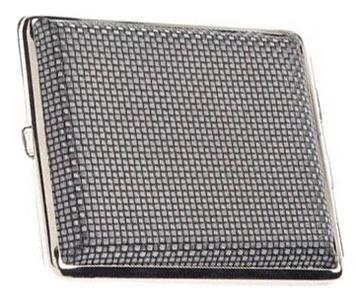 Портсигар (черный с рисунком квадратики)