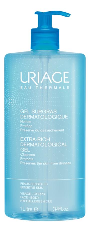 Очищающий гель для лица и тела Eau Thermale Gel Surgras Dermatologique: Гель 1000мл питательный укрепляющий бальзам для тела 200 мл uriage eau thermale