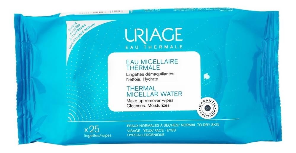 Купить Салфетки для снятия макияжа с мицеллярной водой Eau Micellare Thermale 25шт, Uriage