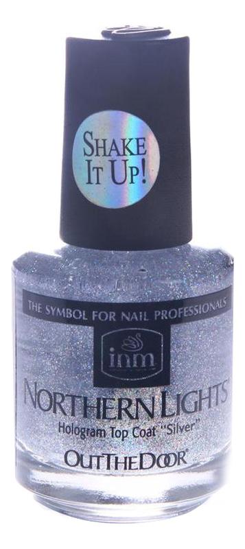 Голографическая сушка-закрепитель лака для ногтей Northen Lights Hologram Top Coat Silver: Сушка-закрепитель 15мл