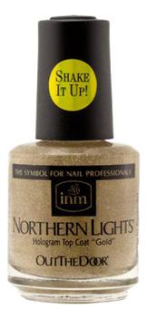 Купить Голографическая сушка-закрепитель лака для ногтей Northen Lights Hologram Top Coat Gold: Сушка-закрепитель 15мл, INM