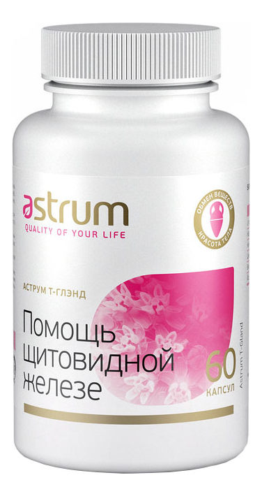Купить Биодобавка Аструм Т-Глэнд Помощь щитовидной железе 60 капсул, Astrum