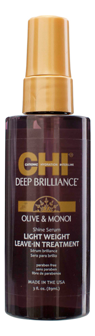 Фото - Легкая несмываемая сыворотка для волос Deep Brilliance Olive & Monoi Shine Serum: Сыворотка 89мл несмываемая сыворотка для гладкости волос с термозащитой biolage smoothproof serum 89мл
