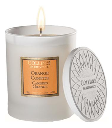 Купить Ароматическая свеча Candied Orange 180г (Засахаренный апельсин), Collines de Provence