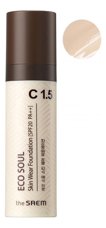Купить Тональная основа Eco Soul Skin Wear Foundation 30мл: C1.5 Cotton tone, The Saem