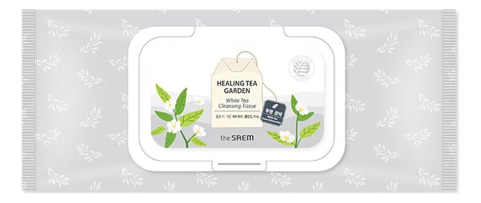 Салфетки очищающие с экстрактом белого чая Healing Tea Garden White Tea Cleansing Tissue 40шт