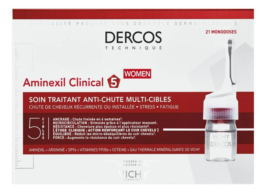 Средство против выпадения волос для женщин Dercos Aminexil Intensive 5 Femme 21шт vichy ампулы против выпадения волос купить