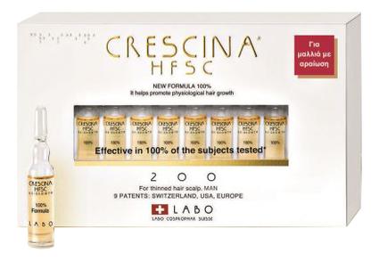 Купить Ампулы для восстановления роста волос Re-Growth HFSC 100% Formula 200 Man: Ампулы 20*3, 5мл, Crescina