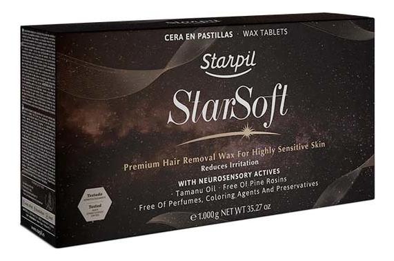 Низкотемпературный полимерный воск для депиляции в брикетах Star Soft Hair Removal Wax For Highly Sensitive Skins Reduce Irritation: Воск 1000г