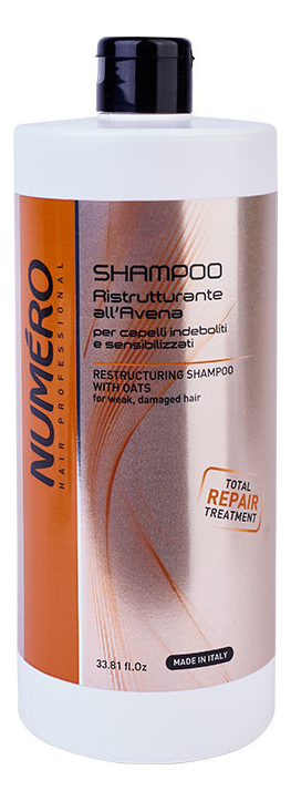 Восстанавливающий шампунь для волос с экстрактом овса Numero Restructuring With Oats Shampoo: Шампунь 1000мл шампунь для волос реструктурирующий upker restructuring shampoo 200мл