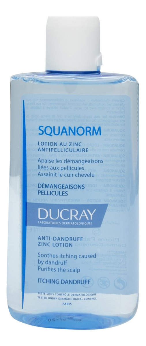 Лосьон против перхоти Squanorm Lotion Antipelliculaire Au Zinc 200мл ducray неоптид лосьон от выпадения волос для мужчин 100 мл