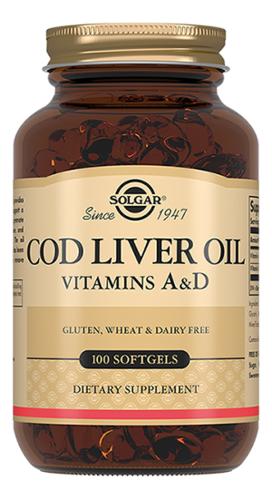 Купить Биодобавка Жир из печени трески Cod Liver Oil 100 капсул, SOLGAR