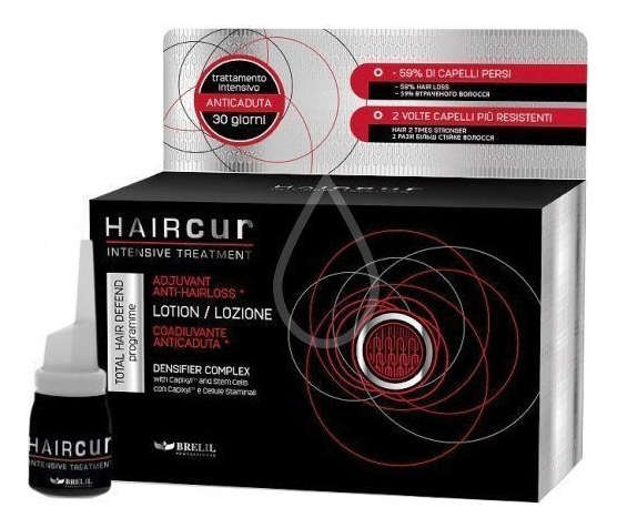 Лосьон против выпадения волос на основе стволовых клеток Hair Cur Anti-Hair Loss Lotion 10*6мл brelil professional лосьон против выпадения волос со стволовыми клетками и капиксилом 10х6 мл brelil professional haircur