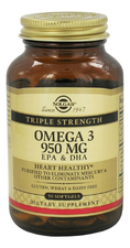 SOLGAR Биодобавка Triple Strength Omega 3 950Mg 50капсул