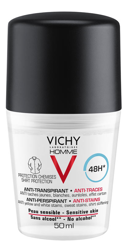 Шариковый дезодорант против пятен Homme Deodorant Anti-Transpirant 48H 50мл шариковый дезодорант vichy