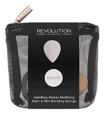 Makeup Revolution Набор для макияжа Handbag #Hacks Mattifying Balm & Mini Blending Sponge (бальзам д/лица + спонж + косметичка)