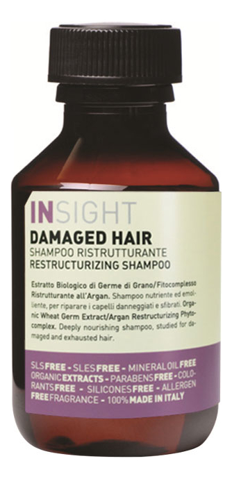 Купить Шампунь для волос с экстрактом ростков пшеницы и маслами Damaged Hair Restructurizing Shampoo: Шампунь 100мл, INSIGHT