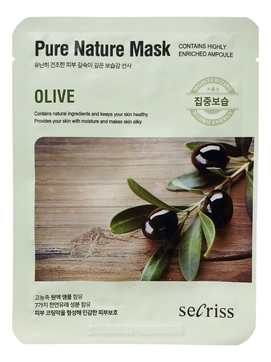 Тканевая маска для лица с экстрактом оливы Secriss Pure Nature Mask Olive 25мл