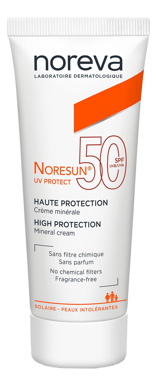 Солнцезащитный минеральный крем для лица и тела Noresun Protect UV High Protection Mineral Cream SPF50 40мл noreva норесан градуал крем с очень высокой степенью защиты spf50 40 мл noreva noresun