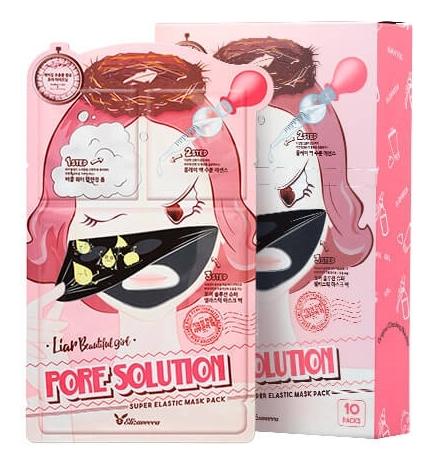 Купить Трехступенчатая маска для лица для проблемной кожи 3-Step Pore Solution Super Elastic Mask Pack: Маска 10*25мл, Elizavecca