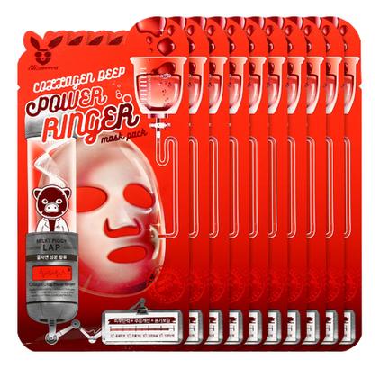 Купить Тканевая маска для лица с коллагеном Collagen Deep Power Ringer Mask Pack: Маска 10*23мл, Elizavecca