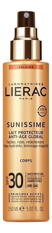 Купить Солнцезащитное тонизирующее молочко для тела Sunissime Lait Reparateur Energisant Anti-Age Global SPF30 150мл, Lierac