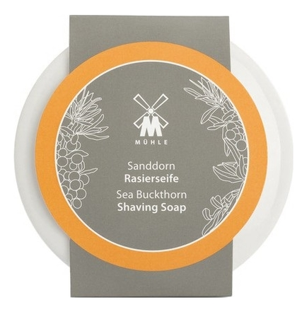 Твердое мыло для бритья в фарфоровой чаше Skincare Sea Buckthorn Shaving Soap 65г (облепиха)