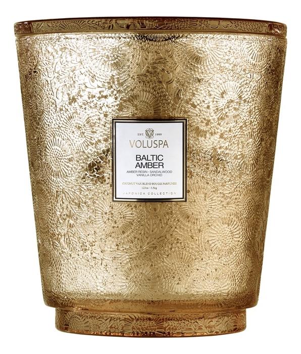 Ароматическая свеча Baltic Amber (смола и дерево): свеча в стеклянном подсвечнике с 5 фитилями 3500г автодиффузор для автомобиля baltic amber балтийский янтарь