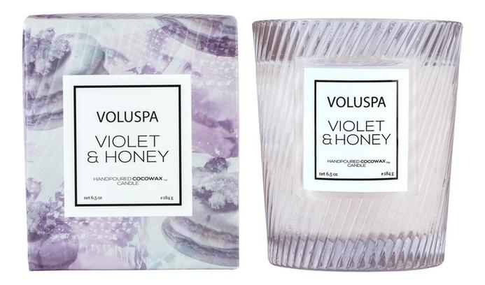 Купить Ароматическая свеча Violets & Honey: свеча в подарочной коробке 184г, Ароматическая свеча Violets & Honey, VOLUSPA