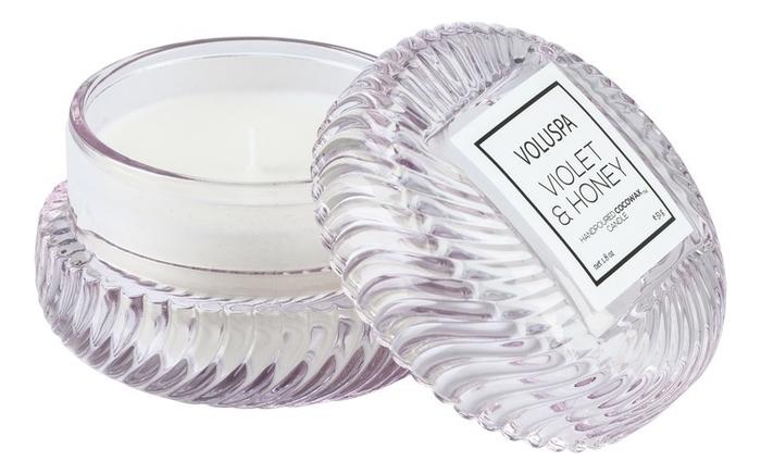 Ароматическая свеча Violets & Honey: в подсвечнике макарон 51г