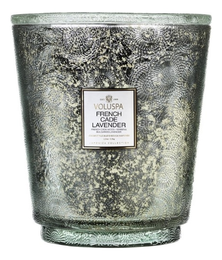 Ароматическая свеча French Cade & Lavender (лаванда и вербена): свеча в болшой банке с 5 фитилями 3500 ароматический спрей для дома и тела french cade lavender 100мл лаванда и вербена