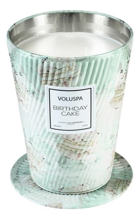 Ароматическая свеча Birthday Cake: в металлическом ведерке с 2 фитилями 737г
