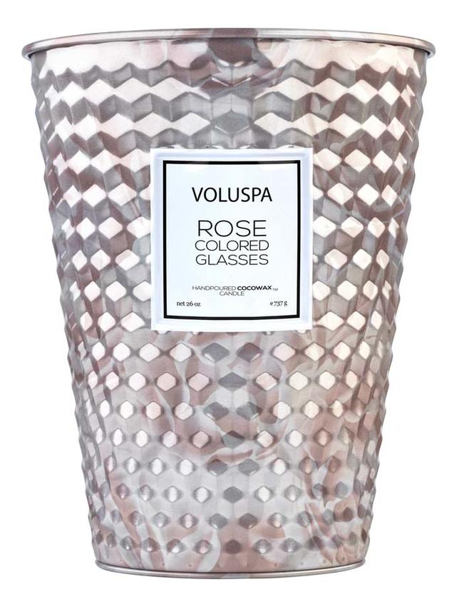 Купить Ароматическая свеча Rose Colored Glasses (мир в розовом цвете): свеча в металлическом ведерке с 2 фитилями 737г, VOLUSPA