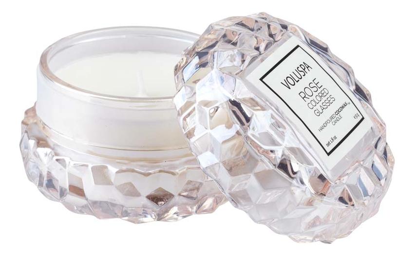 Купить Ароматическая свеча Rose Colored Glasses (мир в розовом цвете): свеча в подсвечнике макарон 51г, VOLUSPA