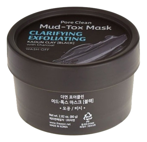 Маска для лица с каолиновой глиной Pore Clean Mud-Tox Mask Black 80г маска для лица с каолиновой глиной pore clean mudtox mask yellow 80гр the yeon