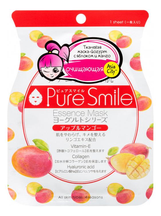 Фото - Маска для лица на йогуртовой основе с экстрактом яблока и манго Pure Smile Essence Mask Yogurt Series Apple Mango 30г a pieu тканевая маска real big yogurt one bottle mango с экстрактом манго 21 г