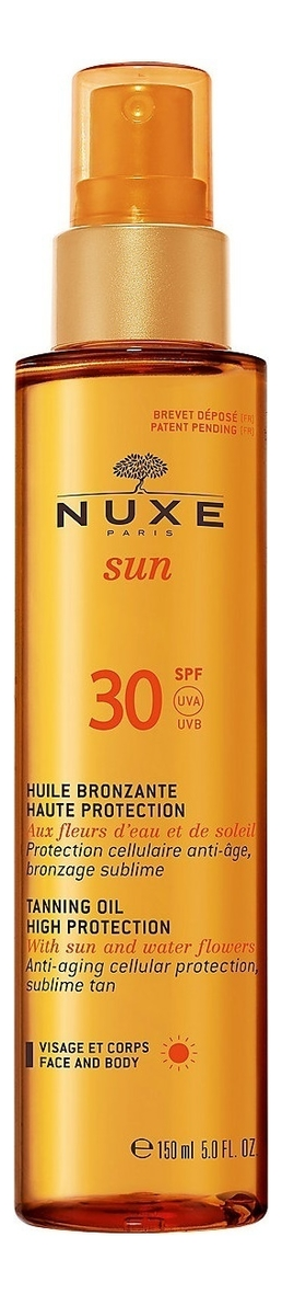 Тонирующее масло для лица и тела Sun Tanning Oil High Protection SPF30 150мл масло nuxe отзывы