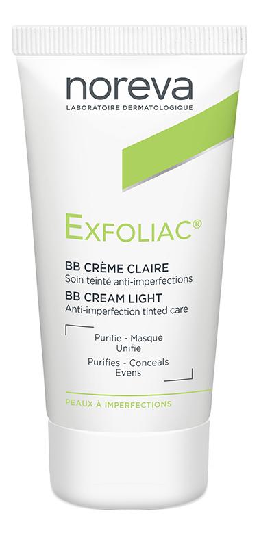 Тональный BB крем для проблемной кожи лица Exfoliac Anti-Imperfections Treatment 30мл: Light Tinted noreva laboratories bb крем для проблемной кожи exfoliac 30 мл оттенок light