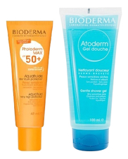 Bioderma Набор (аквафлюид д/лица Photoderm Max SPF50+ Aquafluide 40мл + гель д/душа Atoderm Gel Douche Gentle Shower 100мл)