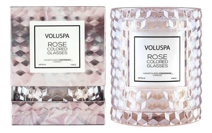 Ароматическая свеча Rose Colored Glasses: в стеклянном подсвечнике с крышкой 240г