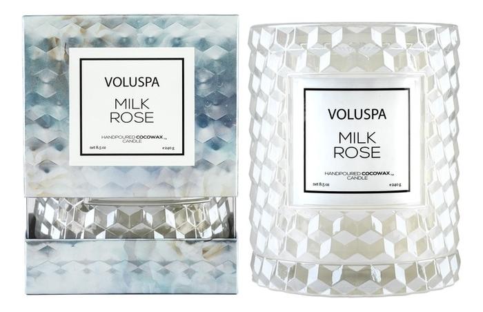 Ароматическая свеча Milk Rose: свеча в стеклянном подсвечнике с крышкой 240г ароматическая свеча vitae свеча 240г