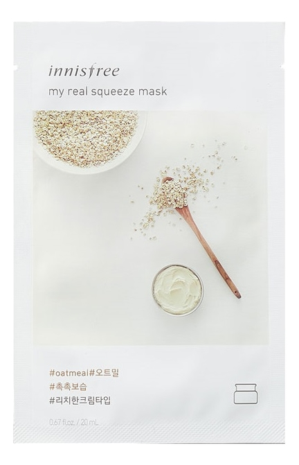 Фото - Тканевая маска для лица с экстрактом овса My Real Squeeze Mask Oatmeal 20мл тканевая маска для лица с экстрактом лотоса 0 2 therapy air mask lotus 20мл