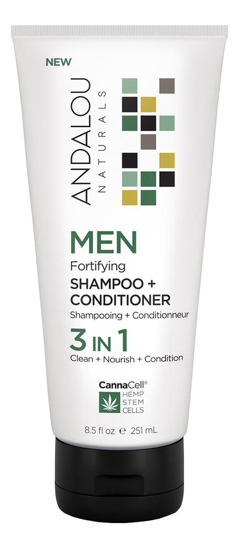 Купить Кондиционер для волос 3 в 1 Canna Cell Men Shampoo + Conditioner 251мл, Andalou Naturals