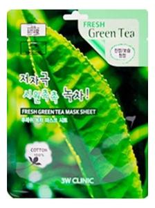 Купить Тканевая маска для лица с экстрактом зеленого чая Fresh Green tea Mask Sheet: Маска 23г, 3W CLINIC