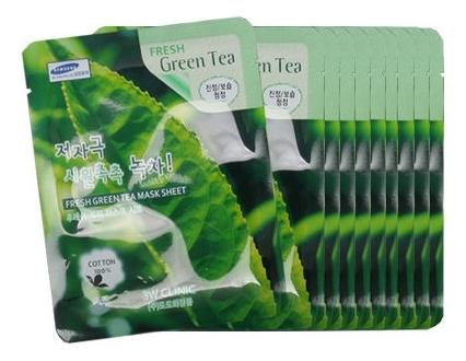 Купить Тканевая маска для лица с экстрактом зеленого чая Fresh Green tea Mask Sheet: Маска 10*23г, 3W CLINIC