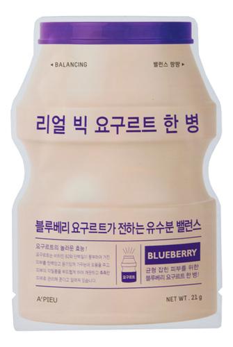 Фото - Тканевая маска для лица Real Big Yogurt One Bottle Blueberry 21г (йогурт и черника) a pieu тканевая маска real big yogurt one bottle mango с экстрактом манго 21 г