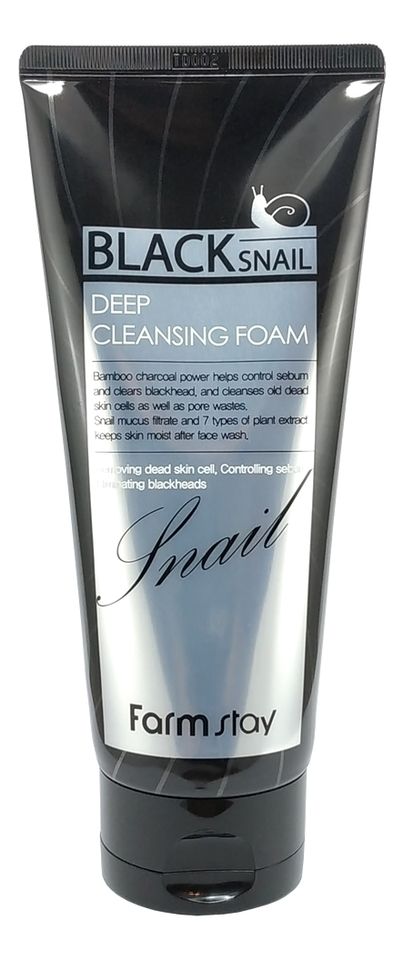 Купить Пенка для умывания с секрецией черной улитки Black Snail Deep Cleansing Foam 180мл, Farm Stay