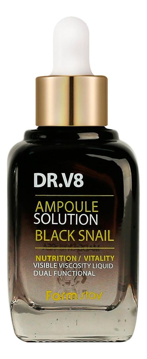 Купить Сыворотка для лица с муцином черной улитки DR.V8 Ampoule Solution Black Snail 30мл, Farm Stay
